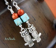 Owl Earrings Turquoise and Coral with Pewter Charm by ArtsParadis. #Owl…