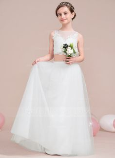 A Line Princess Scoop Neck Floor Length Zipper Up Covered Button Regular Straps Sleeveless No Ivory General Tulle Junior Bridesmaid Dress