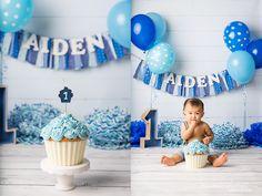First birthday cake smash photo session, blue giant cupcake Ashleigh Whitt Photography - Cleveland Ohio Cake Smash Photographer