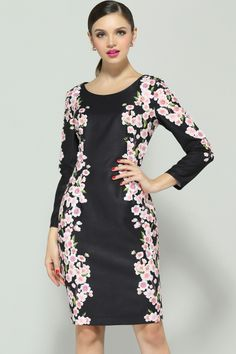 Black Long Sleeve Floral Embroidered Dress - Fashion Clothing, Latest Street Fashion At Abaday.com