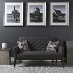 Giclee Print 'Old Airplane' Framed Glass 3-Piece Set