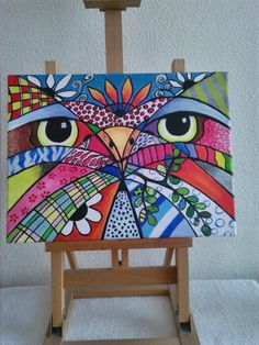 Artículos similares a Abstract painting of an owl en Etsy Easy Canvas Painting, Painting & Drawing, Watercolor Paintings, Canvas Art, Murals Street Art, Mural Art, Arte Pop, Animal Art Projects, Happy Paintings