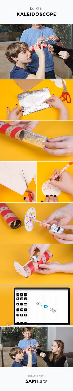 Make dreams! Start with creating a long triangle of kitchen foil and slide it into a kitchen roll. Now cut a circle from paper and decorate it with colours and shapes. Attached a SAM Motor to the circle and attach it to the kitchen roll so that you see your decorated circle through your kaleidoscope. Connect the SAM Motor wirelessly in the SAM app, and start dreaming!