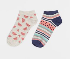 Pack of water melon pattern ankle socks - OYSHO