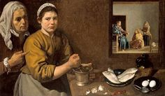 """Diego Velázquez (1599-1660). """" Kitchen Scene with Christ in the House of Martha and Mary"""""""