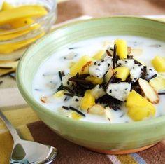 Black Dragon Cereal ~ warm coconut milk, wild rice, mango and dragon fruit {Gluten Free}