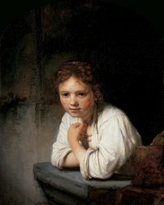 Rembrandt 'Girl in the Window' 1645, Oil on canvas.The model was thought to be a family servant.