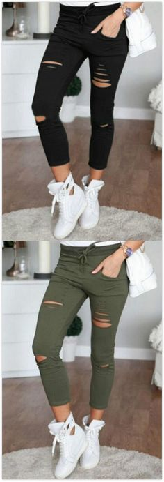 Drawstring Waist Pockets Design Holes Details Casual Pants