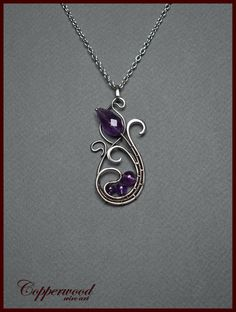 Wire wrapped pendant Amethyst necklace Wire wrapped jewelry Wire Necklace, Wire Earrings, Amethyst Necklace, Wire Wrapped Earrings, Wire Wrapped Pendant, Wire Pendant, Wire Wrap Jewelry, Metal Jewelry, Pendant Jewelry