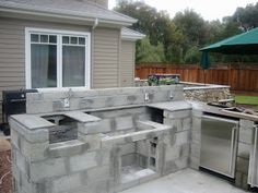 Outdoor Fireplace Plans Diy Outdoor Kitchen With Cinder