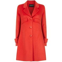 Emporio Armani Wool and Cashmere Button Down Coat ($1,335) ❤ liked on Polyvore featuring outerwear, coats, a line coat, red cashmere coat, vintage red coat, vintage cashmere coat and wool cashmere coat
