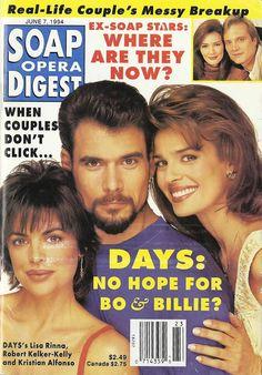 Lisa Rinna, Robert Kelker-Kelly, & Kristian Alfonso (Billie, Bo, & Hope #DAYS) 6/7/94 http://classicsodcovers.tumblr.com/