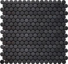 Interceramic Inox Penny Round Glass Mosaic Tile in Black Penny Round Tiles, Penny Tile, Types Of Ceramics, Tuile, Black Floor, Black Bathroom Floor, Black Bathrooms, Modern Bathroom, Dream Bathrooms