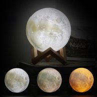 Tsv 3d Printing Moon Led Lamp Night Light Smart Touch Switch Battery Powered Usb Charging 2 Modes Lunar Table Lamp With Lamp Holder Stand Kids Room Home Decor C Nursery Lamp