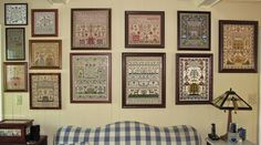 With My Needle:  One of Ellen Chester's sampler walls.
