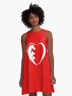 'My Horse, My Dog, My Cat are' A-Line Dress by Friendesigns Horse Logo, Dog Logo, Animal Logo, Horses, Tank Tops, Cats, Fabric, Shirts, Dresses