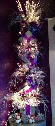 Purple Christmas tree www.tablescapesbydesign.com https://www.facebook.com/pages/Tablescapes-By-Design/129811416695