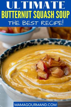 The Best Butternut Squash soup recipe is slightly sweetened with apples, creamy, savory, and has a deliciously concentrated taste from the roasted squash. Try this easy, healthy recipe to taste the best butternut squash soup out there! #butternutsquashsoup #creamy #easy #roasted