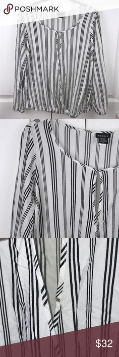 """[Torrid] Stripe Open Front Top Torrid Striped Open Front Top Sz 00 21"""" Pit to Pit  23"""" Long  Fabric came unstitched around rubber band at waist.  Does not effect wear  •F26 torrid Tops Blouses"""