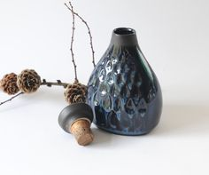 SØHOLM Flask by EINAR JOHANSEN - Stoneware Art Pottery - Mid century modern - Soholm Pottery 1960's Danish Blue line by FridasVintage on Etsy
