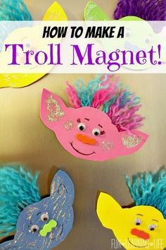 How To Make A Troll Magnet and Get Interactive With Trolls Blu-Ray Party Edition! - Fun Learning Life How To Make A Troll Magnet and Get Interactive With Trolls Blu-Ray Party Edition! Daycare Crafts, Fun Crafts For Kids, Summer Crafts, Toddler Crafts, Preschool Crafts, Projects For Kids, Diy For Kids, Craft Projects, Craft Ideas
