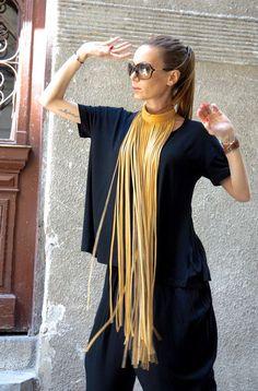 NEUE Kollektion Senf extravagante Fringe lange Leder von Aakasha