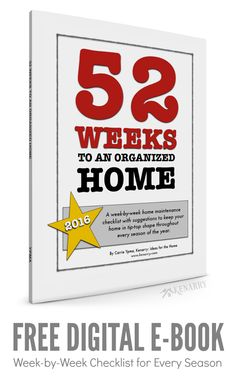 This is just what I needed! A free eBook with a week-by-week checklist to maintain and organize my home this year including extra home organization tips.