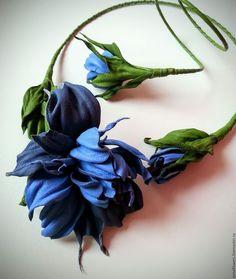 """Комплекты украшений ручной работы. Ярмарка Мастеров - ручная работа. Купить Колье и браслет из натуральной кожи """" Milena"""" в голубом цвете. Handmade."""