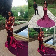 Gorgeous mermaid Long Sleeve Burgundy Prom Dress With Lace Appliques modest evening gowns