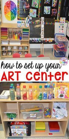 How to Set Up and Plan for your Art Center in an Early Childhood Classroom - Pocket of Preschool - How to set up the art center in your early childhood classroom (with ideas, tips, and book list) plus an art center freebie Preschool Rooms, Preschool Centers, Preschool Activities, Preschool Art Display, Science Area Preschool, Preschool Room Layout, Block Center Preschool, Writing Center Preschool, Preschool Set Up