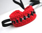 Crocheted bracelet, red cotton and black chain, autumn trends, cuff