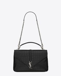 054314e9a956 classic large collège bag in black crocodile embossed leather