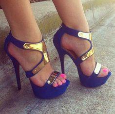 chaussures a talon bleu swag.
