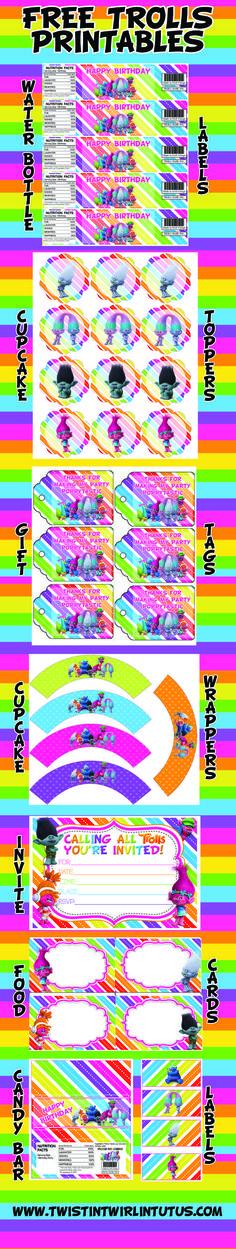 FREE Trolls Printable with any Trolls Birthday Apparel purchase | Trolls Birthday Ideas | Troll Birthday Party Ideas | Trolls Invitations | Trolls Water Bottle Labels | Trolls Cupcake Toppers | Trolls Cupcake Wrappers | Trolls Candy Bar Wrappers | Trolls Placecards