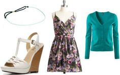 Floral dress, turquoise cardigan and headband, white wedges