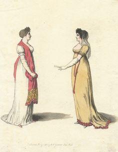 Yellow Ballgown, Yellow Dress, Pall Mall, Regency Era, Antique Prints, Fashion Plates, Napoleon, Shawls, Ball Gowns