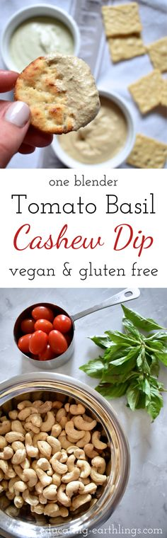Blender Cashew Dip - Tomato Basil, healthy dip, party food, vegan party food, plant based recipes, vegan recipes, nut dips, healthy nut dip, vegan protein, plant based protein