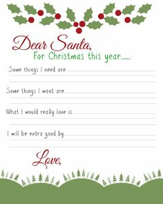 Busy Mom's Helper: Family fun, food, recipes and crafts.: Dear Santa: Kids Wish List Printable