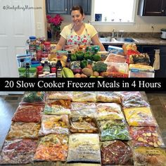 20 Slow Cooker Freezer Meals in 4 hours!  No recipes are duplicated, each one is different giving you twenty meals.
