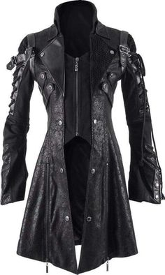 Gothic coats and jackets for women - The Black Angel A distinctive women's jacket by gothic clothing brand Punk Rave, black, rugged and elaborately detailed with straps and strings on the sleeves. Mode Steampunk, Steampunk Clothing, Steampunk Fashion, Gothic Fashion, Gothic Steampunk, Victorian Gothic, Gothic Clothing Mens, Lolita Fashion, Gothic Lolita