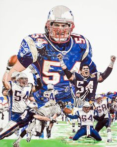 This is a marker illustration I did a few years back of former All Pro linebacker of The New England Patriots Tedi Bruschi. The original art 16x20 was purchased along with 1,000 signed and numbered by both myself and Tedi, 18x24 prints by SBLI to fund Tedi's charitable foundation.