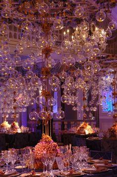 {Wedding Trends} : Hanging Wedding Decor – Part 2 - Belle The Magazine Reception Decorations, Event Decor, Wedding Centerpieces, Hanging Decorations, Wedding Receptions, Hanging Candles, Floating Candles, Candle Lanterns, Glass Candle