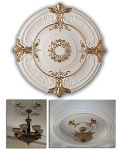 WishiHadThat Light/Fan Ceiling Medallion - Polyurethane Gold Trimmed  Wish I Had That has a great selection of mouldings, trims, ceiling tiles, medallions, domes.  Great prices, quick ship, quality items