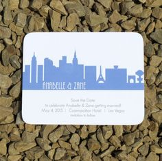 Las Vegas Skyline Save the Date Card by StelieDesigns on Etsy