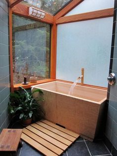 Japanese Soaking Tub Hinoki Wood Ofuro Client The CarMic House - Outdoor japanese soaking tub