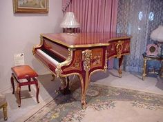 Bluthner Grand Piano, with a Beautiful Art Case. Wood Inlay and Gold Leaf.