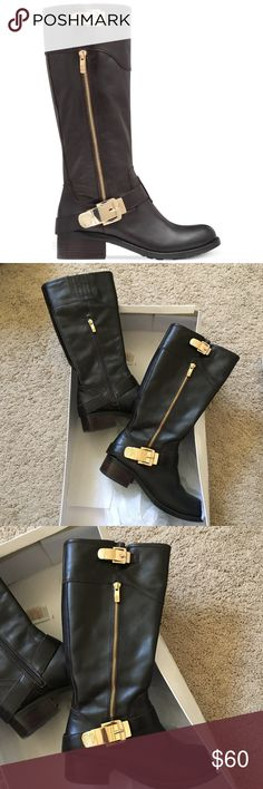 ❄️Vince Camuto Dark Brown Tall Riding Boots❄️ Dark brown tall riding boots with gold buckle and hardware detail. Been used 2-3x and very minor scuffs all around shoes. Has one small scuff/tear on the inner heel of the left shoe as shown on last picture (white spot) but very hard to notice when worn. Shaft height: 13 1/2 and fits true to size. Otherwise, this pair is in excellent condition. From a pet/smoke free home. Does not come with original box. Vince Camuto Shoes Heeled Boots