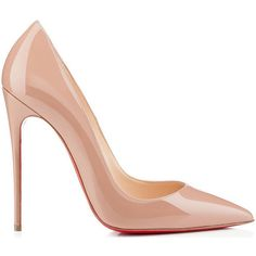 Christian-Louboutin-So-Kate-nude-patent-leather-pump found on Polyvore featuring polyvore, shoes, heels, pumps, christian louboutin and zapatos