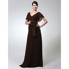 Formal Evening/Military Ball Dress Sheath/Column V-neck Floor-length Chiffon Dress – AUD $ 124.19