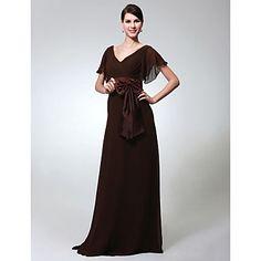 Sheath/ Column V-neck Short Sleeve Floor-length Chiffon Evening Dress – US$ 139.49